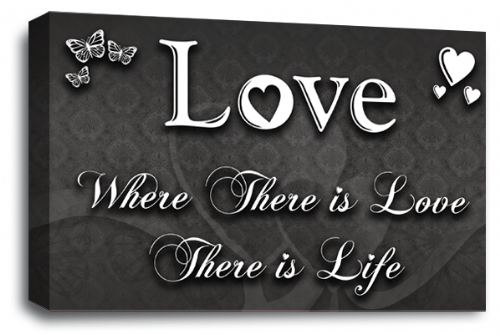 Love Quote Wall Art Picture Grey White Home Print